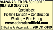 Yellow Pages Ad of 914246 Ab Ltd O/A Schroder Oilfield Service