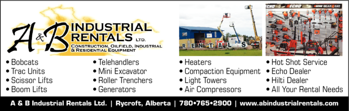 Yellow Pages Ad of A & B Industrial Rentals Ltd
