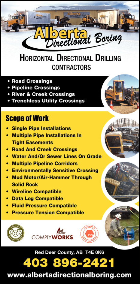 Yellow Pages Ad of Alberta Directional Boring Ltd