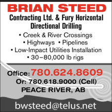 Yellow Pages Ad of Brian Steed Contracting Ltd & Fury Horizontal Directional Drilling