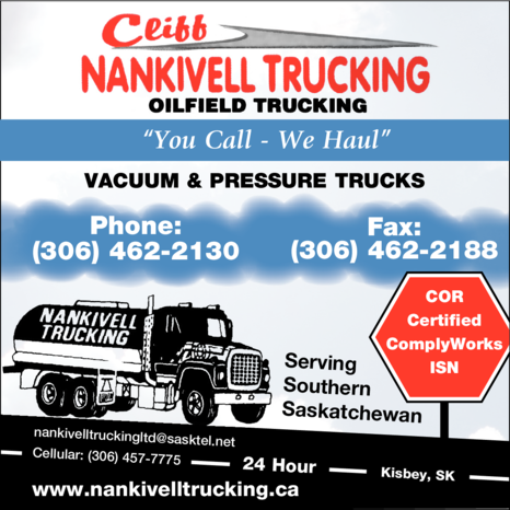 Yellow Pages Ad of Cliff Nankivell Trucking Ltd