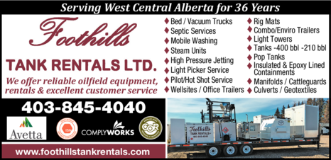 Yellow Pages Ad of Foothills Tank Rentals Ltd