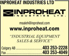Yellow Pages Ad of Inproheat Industries Ltd