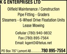 Yellow Pages Ad of K G Enterprises Ltd