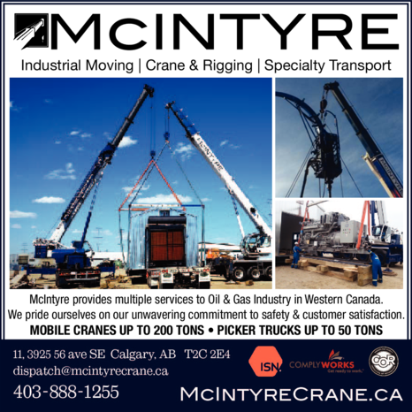 Yellow Pages Ad of Mcintyre Crane & Rigging Ltd