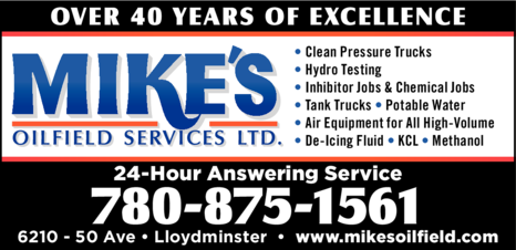 Yellow Pages Ad of Mike's Oilfield Services Ltd