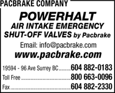 Yellow Pages Ad of Pacbrake Company