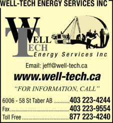 Yellow Pages Ad of Well-Tech Energy Services Inc