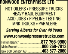 Print Ad of Ronwood Enterprises Ltd