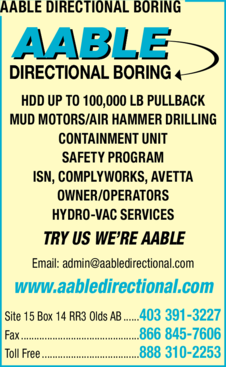 Print Ad of Aable Directional Boring