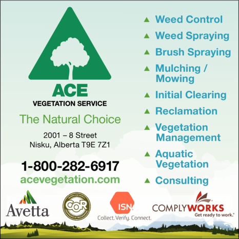 Yellow Pages Ad of Ace Vegetation Control Service Ltd