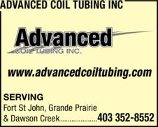 Yellow Pages Ad of Advanced Coil Tubing Inc