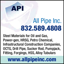Print Ad of All Pipe Inc