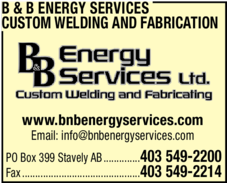 Yellow Pages Ad of B & B Energy Services Custom Welding And Fabricating