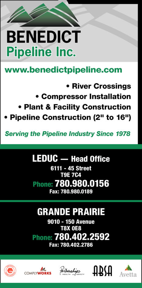 Yellow Pages Ad of Benedict Pipeline Inc