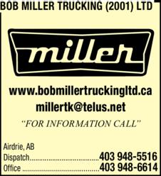 Print Ad of Bob Miller Trucking (2001) Ltd
