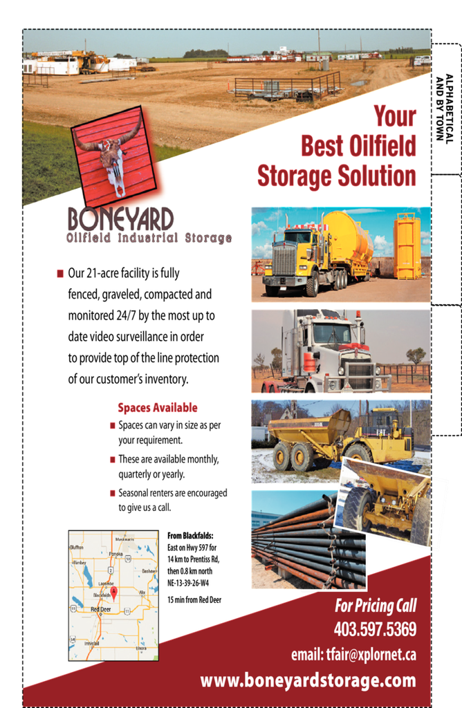 Yellow Pages Ad of Boneyard Oilfield Industrial Storage