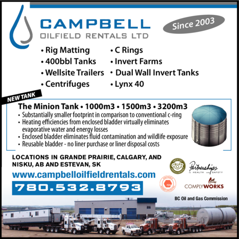 Yellow Pages Ad of Campbell Oilfield Rentals Ltd