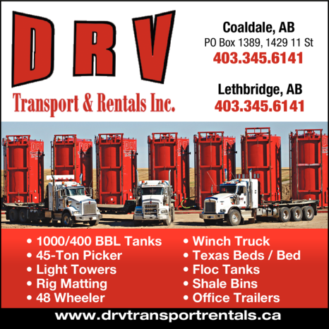 Yellow Pages Ad of Drv Transport & Rentals Inc