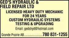 Print Ad of Ged's Hydraulic & Field Repair Ltd
