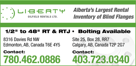 Yellow Pages Ad of Liberty Oilfield Rentals Ltd