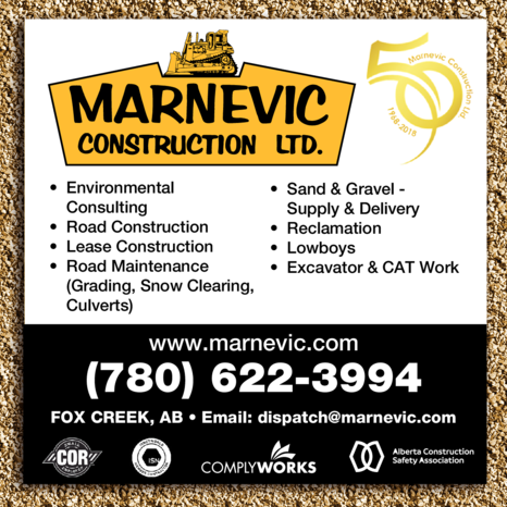 Yellow Pages Ad of Marnevic Construction Ltd