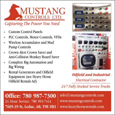 Yellow Pages Ad of Mustang Controls Ltd