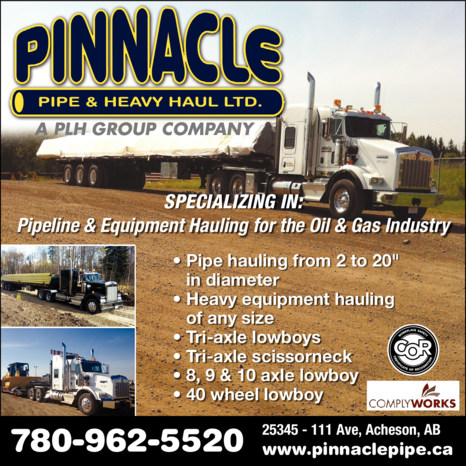 Yellow Pages Ad of Pinnacle Pipe & Heavy Haul Ltd