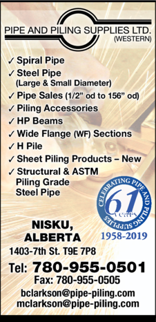 Yellow Pages Ad of Pipe And Piling Supplies (Western) Ltd