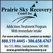 Yellow Pages Ad of Prairie Sky Recovery Centre Inc