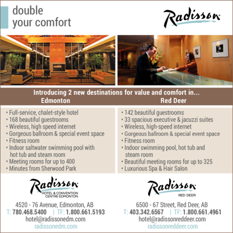 Yellow Pages Ad of Radisson Hotel & Convention Centre