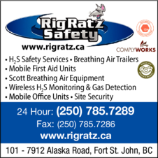 Yellow Pages Ad of Rig Ratz Safety H2s & Mobile First Aid