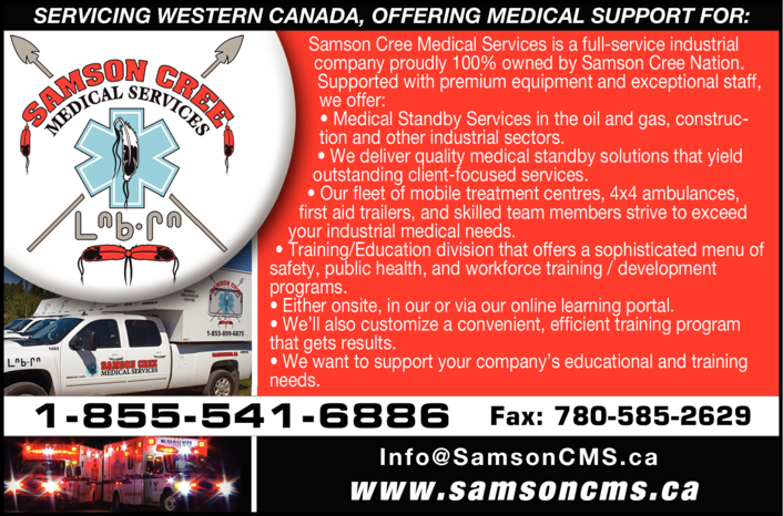 Yellow Pages Ad of Samson Cree Medical Services