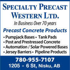 Yellow Pages Ad of Specialty Precast Western Ltd