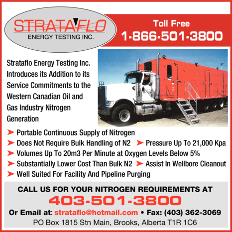 Yellow Pages Ad of Strataflo Energy Testing Inc