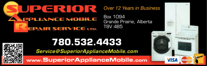 Yellow Pages Ad of Superior Appliance Mobile Repair Service Ltd