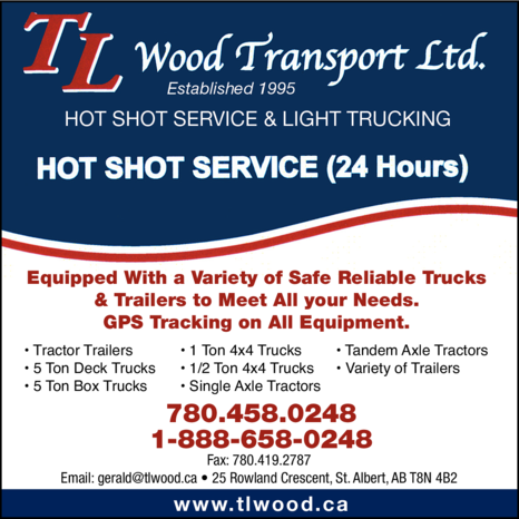 Yellow Pages Ad of Tl Wood Transport Ltd