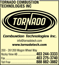 Print Ad of Tornado Combustion Technologies Inc