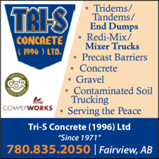 Yellow Pages Ad of Tri-S Concrete (1996) Ltd