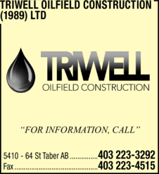Yellow Pages Ad of Triwell Oilfield Construction (1989) Ltd
