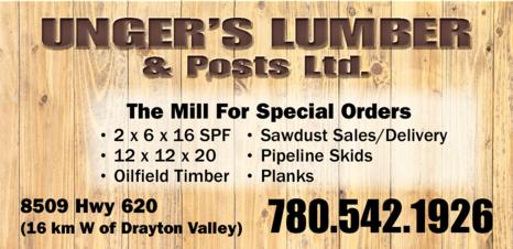 Print Ad of Unger's Lumber & Posts Ltd