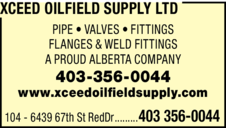 Yellow Pages Ad of Xceed Oilfield Supply Ltd